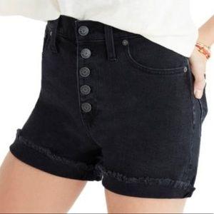 Madewell Button Front Black Denim Shorts